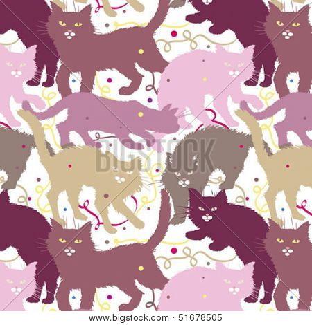 elegant seamless background with pink cats