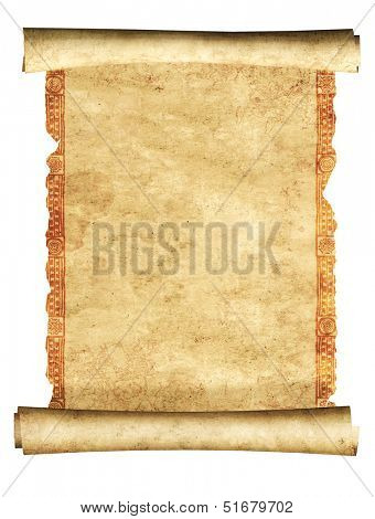 Scroll of old parchment. Object isolated over white background