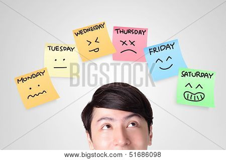 Man Looking Stickers With Week Of Face Expression