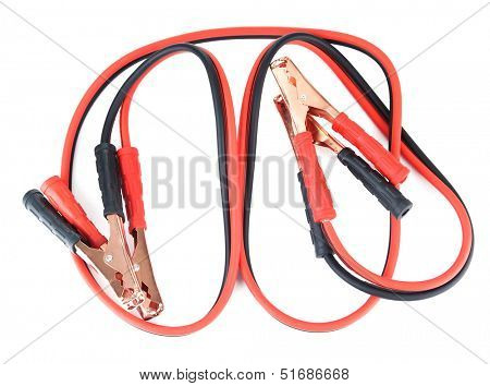 Car battery jumper cables isolated on white