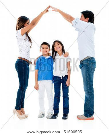 Happy family with kids under a safe roof  - isolated over white background
