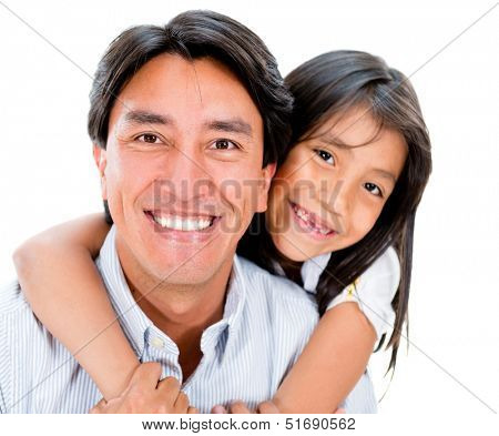 Beautiful portrait of a father and daughter - isolated over white