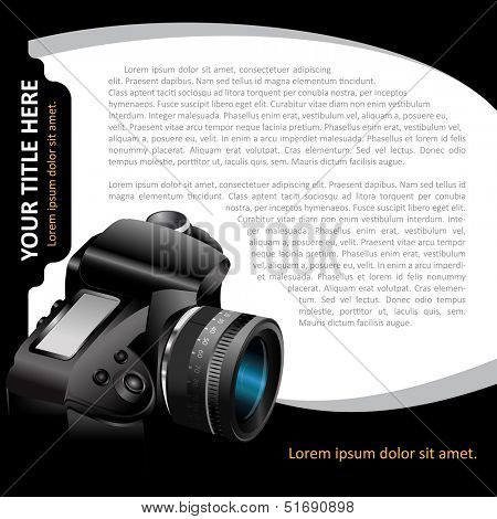 Black vector background with modern DSLR camera for brochure, flyer, poster and advertising