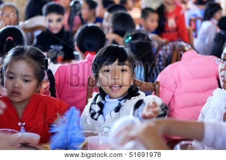 Little girl at Halloween party