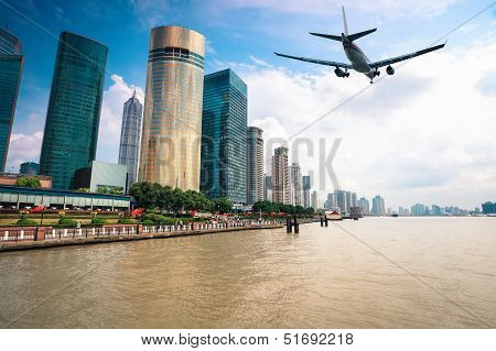 Modern City With Aircraft