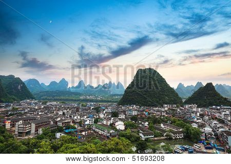 Yangshuo County Town At Sunset