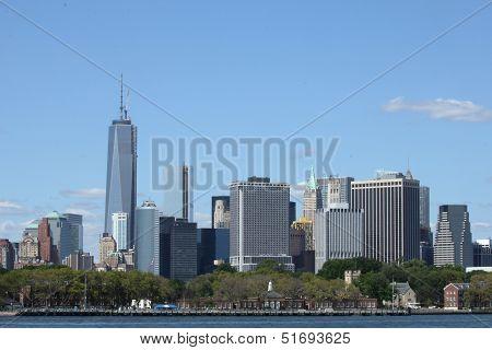 Governors Island and Lower Manhattan skyline panorama