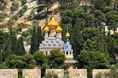 image of church mary magdalene  - Church of Mary Magdalene located on Mount of Olives in Jerusalem - JPG