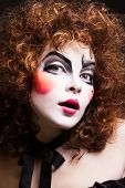 picture of mime  - Woman mime with theatrical makeup - JPG