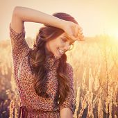foto of fall-wheat  - Beauty Romantic Girl Outdoors - JPG