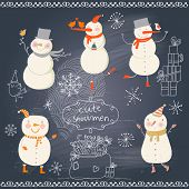 Funny cartoon snowmen holiday set. Cute winter collection on blackboard background. New Year design
