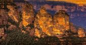 image of three sisters  - Three Sisters in Blue Mountains Australia at sunset - JPG