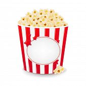 stock photo of pop star  - Popcorn In Cardboard Box With Gradient Mesh - JPG