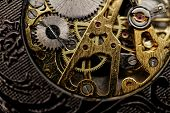 image of wind up clock  - Watch mechanism very close up  - JPG