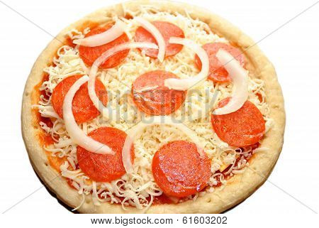 Whole Raw Onion And Pepperoni Pizza