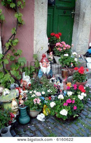 Garden Gnombs In Doorway