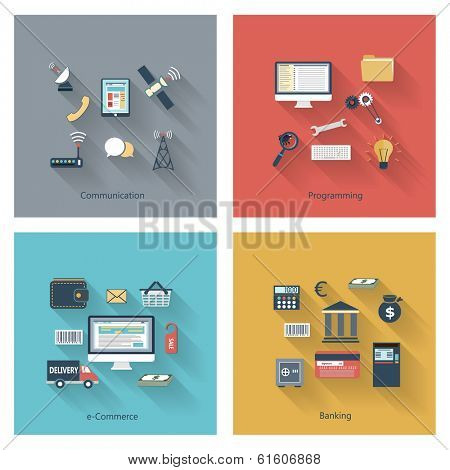 Collection of modern concept icons in flat design with long shadows and trendy colors for web, mobile applications, communication, travel, reporting, education etc. Vector eps10 illustration