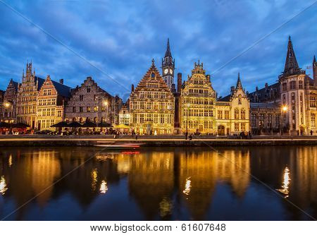 Embankment of old town at night, Ghent