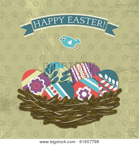 Background With Easter Eggs On Grunge Background, Vector