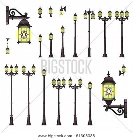 Isolated set of Old Style Street lanterns