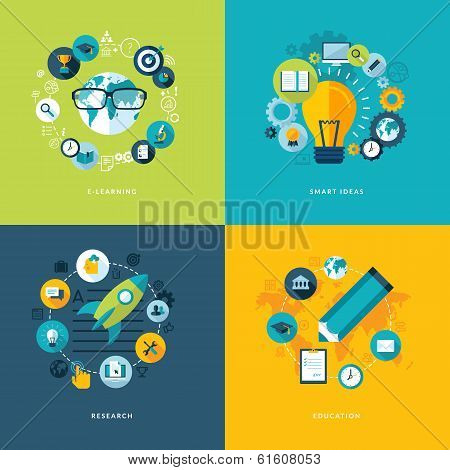 Set of flat design concept icons for education poster