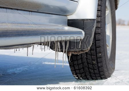 Icicles On Car