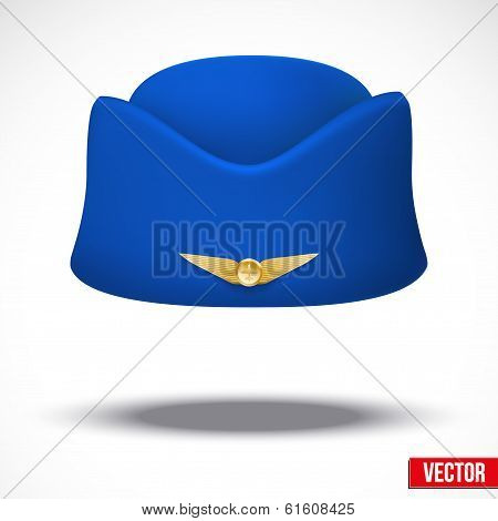 Stewardess hat of air hostess uniform. Vector.