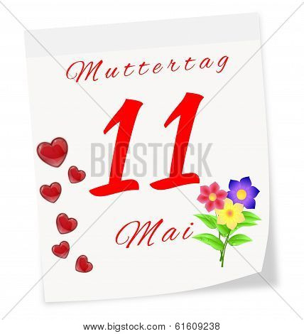 International Mother's Day On May 11 Th. Calendar Page In German