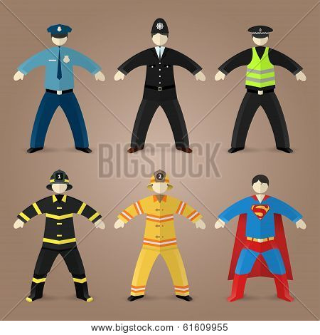Professions set of policeman, fireman and superman
