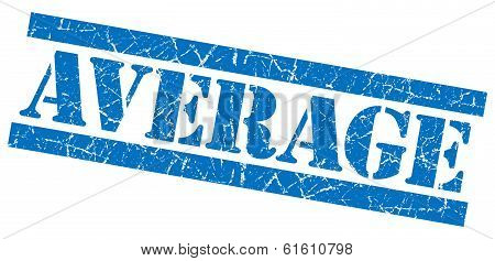 Average Blue Square Grunge Textured Stamp Isolated On White