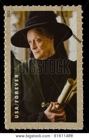UNITED STATES - CIRCA 2013: postage stamp printed in USA showing an image of Professor Minerva McGonagall a Harry Potter main character, circa 2013.