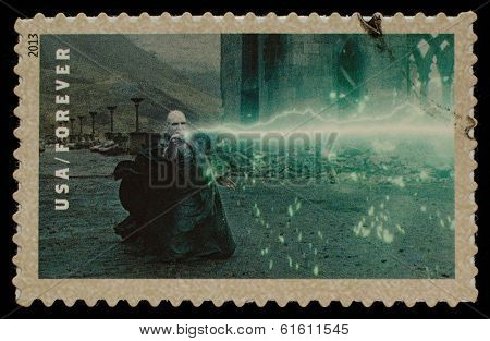 UNITED STATES - CIRCA 2013: postage stamp printed in USA showing an image of Volan de Mort a Harry Potter main characters, circa 2013.