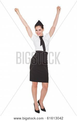 Woman With Arms Raised In Jubilation