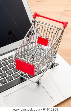 Shopping trolley with laptop