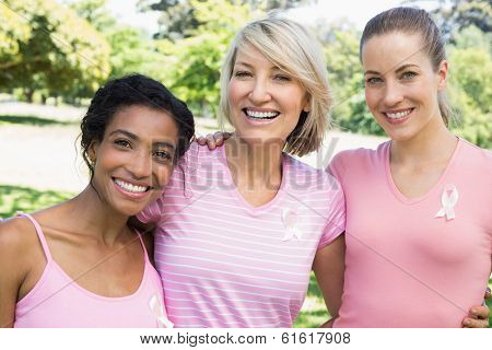 Portrait of multiethnic female volunteers participating in breast cancer awareness at park