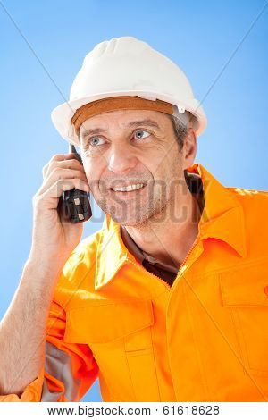 Senior Construction Worker On Sky