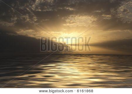 Beautiful Sea Landscape - The Sun On A Decline