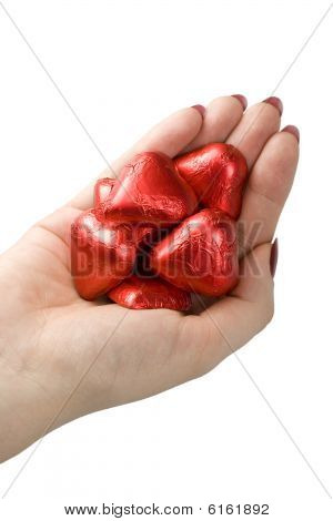 Woman Hand Holding Hearts