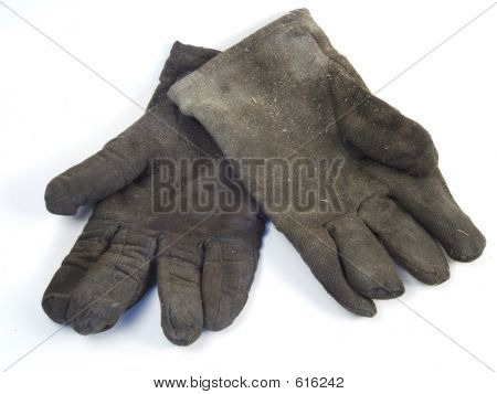 Dirty And Used Work Gloves