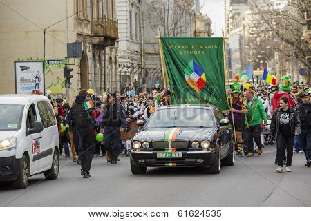 2Nd Edition St. Patrick's Day Parade In Bucharest, Romania.