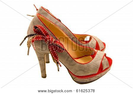 High-heeled Shoes With Red Bow