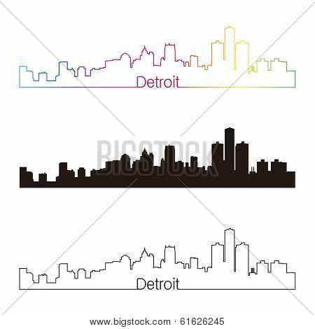 Detroit Skyline Linear Style With Rainbow