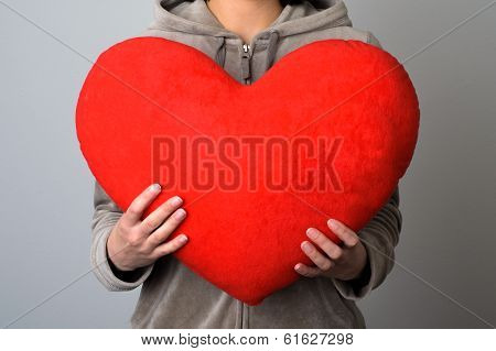 Woman Holding A Big Heart