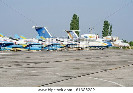 Military Aircraft On The Airfield In The Crimea