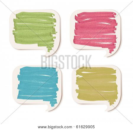 Colorful sticker speech bubbles. Raster version.