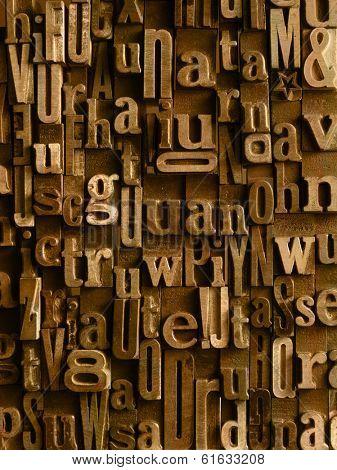 Background formed with vintage wooden letter cases