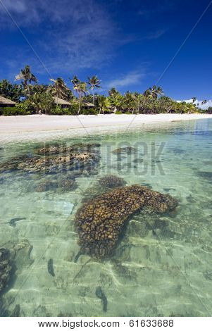 Small bungalows on tropical beach, with coral reef in shallow water