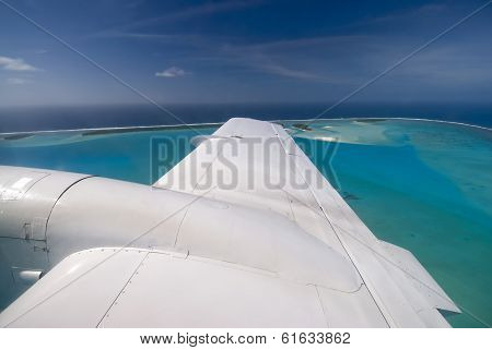 Aitutaki lagoon from small aircraft, Cook Islands