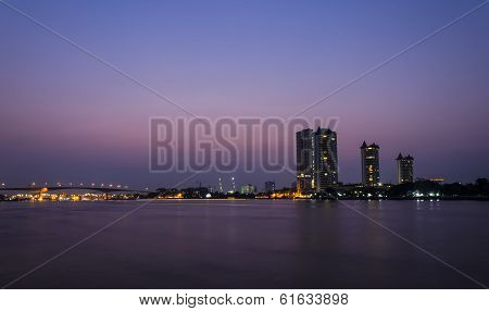 Bangkok city with chao phraya river at night