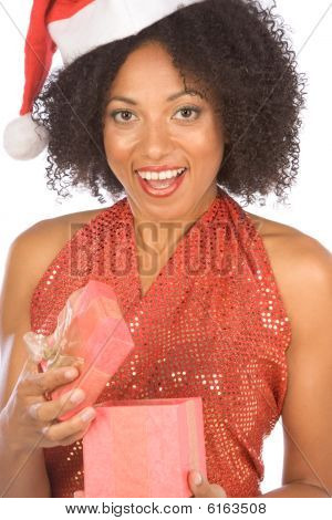 Ethnic Woman Surprised With Christmas Present